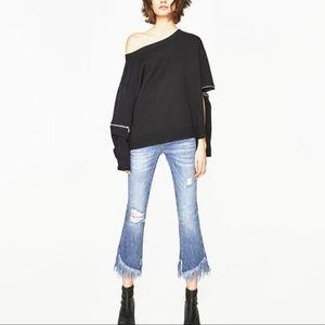 Zara Mid Rise Mini Flare Fringe Jeans